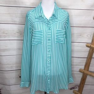 Torrid Turquoise & White Sheer Striped Button Up 0